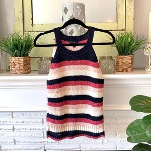 J. Crew Striped High Neck Knit Tank NEW